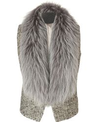Matthew Williamson Grey Raccoon Collar Wool Gilet - Lyst