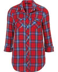 Topshop Long Sleeve Check Shirt red - Lyst