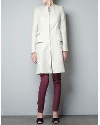 Zara Fantasy Wool Jacquard Coat white - Lyst
