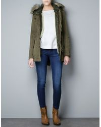 Zara Parka with Detachable - Lyst