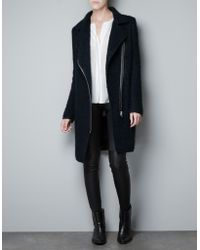 Zara Boucle Wool Studio Coat - Lyst