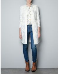 Zara Gathered Guipure Lace Coat - Lyst