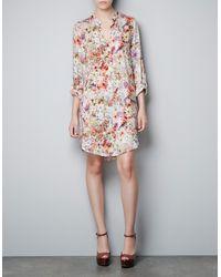 Zara Floral Dress white - Lyst