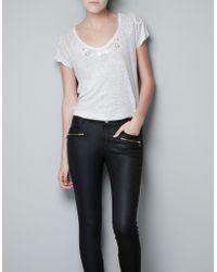 Zara Romantic Embroidered T-shirt - Lyst