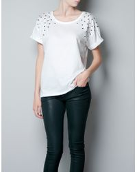 Zara Tshirt with Star Shoulders - Lyst