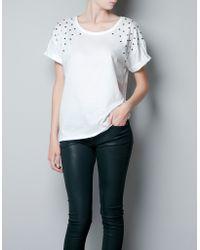 Zara Tshirt with Star Shoulders white - Lyst