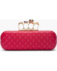 Alexander McQueen Red Leather Studded Skull Knuckle Box Clutch - Lyst