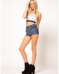 ASOS Collection Asos High Waist Denim Shorts with Rhinestone Studs - Lyst