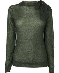 Boutique By Jaeger Lurex Neck Tie Sweater - Lyst
