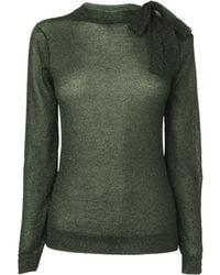 Boutique By Jaeger Lurex Neck Tie Sweater green - Lyst