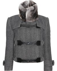 Burberry Prorsum Herringbone Jacket with Fur Collar - Lyst