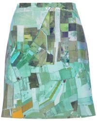 Carven Patterned Skirt green - Lyst