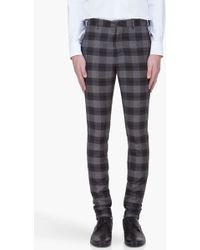 John Galliano Charcoal Wool Check Trousers - Lyst