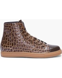 Marc Jacobs Olive Croc Print Leather Sneakers - Lyst