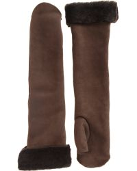 Nina Ricci Shearling Lined Long Fingerless Gloves - Lyst