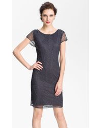 Pisarro Nights Beaded Overlay Silk Chiffon Dress - Lyst