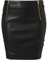 Topshop Black Zip Detail Mini Skirt - Lyst