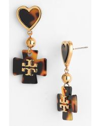 Tory Burch  'Tilsim' Heart And Logo Drop Earrings - Lyst