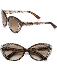 Valentino Lace Catseye Acetate Sunglasses brown - Lyst