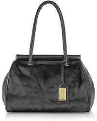 Badgley Mischka - Azure Black Calfhair Shoulder Bag - Lyst