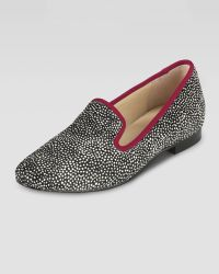 Cole Haan Calf Hair Smoking Slipper - Lyst