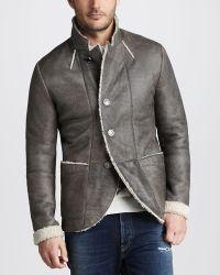 Just Cavalli Waxed Shearling Jacket - Lyst