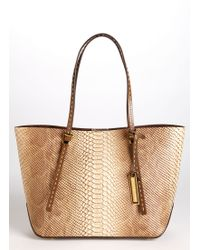 Michael Kors Gia Small Python Embossed Leather Tote - Lyst