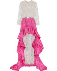Alessandra Rich Lace Gown and Silkblend Taffeta Skirt gray - Lyst