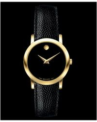 Movado Womens Swiss Black Leather Strap 24mm - Lyst