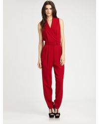 Rachel Zoe Wool Suiting Jumpsuit red - Lyst