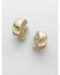 Roberto Coin 18K Yellow Gold Huggie Hoop Earrings/0.7 - Lyst