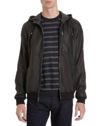 Barneys New York Hooded Bomber - Lyst