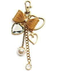 Betsey Johnson Mesh Bow and Crystal Heart Charm Key Chain - Lyst