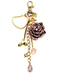 Betsey Johnson Crystal Rose Key Chain - Lyst