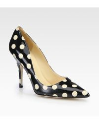 Kate Spade Licorice Polka Dot Patent Leather Pumps - Lyst