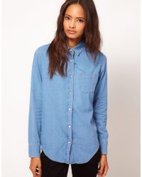 Asos Asos Denim Shirt in Mid Stonew Blue - Lyst