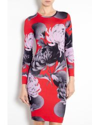Jonathan Saunders Red Printed Long Sleeve Dress - Lyst