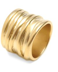 Kenneth Cole - Gold Tone Wide Band - Lyst