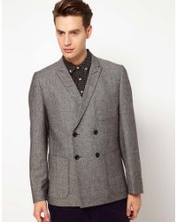 Plectrum By Ben Sherman Herringbone Double Breasted Blazer - Lyst