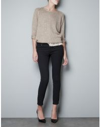 Zara Sequinned Sweater - Lyst