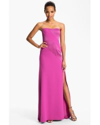 BCBGMAXAZRIA Strapless Satin Inset Crepe Gown - Lyst