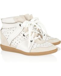 Isabel Marant Betty Leather and Suede Wedge Sneakers - Lyst