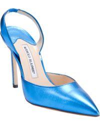 Manolo Blahnik Carolyne blue - Lyst