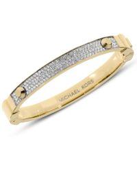 Michael Kors Gold-Tone Pave Hinge Bracelet white - Lyst