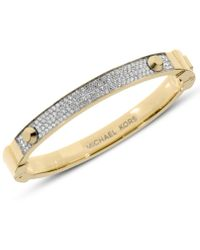 Michael Kors Gold-Tone Pave Hinge Bracelet - Lyst