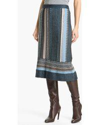 Nic + Zoe Stripe Knit Skirt blue - Lyst
