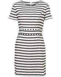 Topshop Sparkle Stripe Dress beige - Lyst