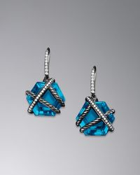 David Yurman Cable Wrap Earrings Blue Topaz 14mm - Lyst