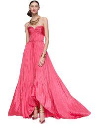 Oscar de la Renta Pleated Sweetheart Gown - Lyst