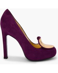 Saint Laurent Purple Suede Catherine Pumps - Lyst